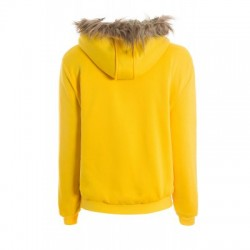 Artificial Wool Embellished Hooded Zipper and Pocket Design Women\'s Cotton Coat