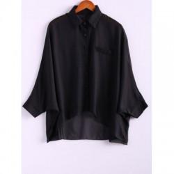 Charming and Perspective Asymmetrical Hem Bat Sleeve Chiffon Shirt For Women