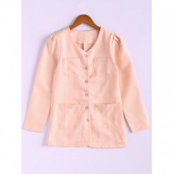 Candy Color Puff Sleeve Cotton Coat