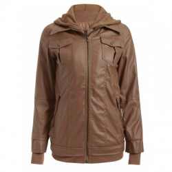 Flap Pockets Hooded Faux Leather Jacket