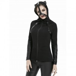 Cat Ear Faux Leather Panel Hooded Jacket