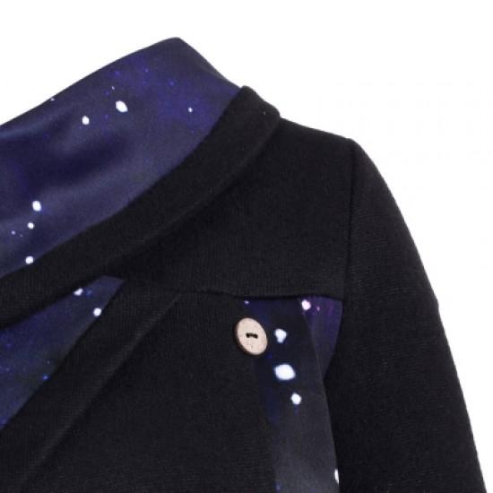 Galaxy Print Panel Mock Button Sweater