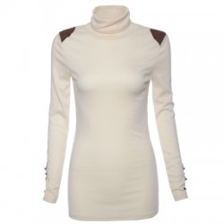 Turtle Neck Solid Color Bead Splicing Long Sleeve Sweater