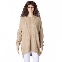 Hooded Long Sleeve Solid Color High-Low Hem Sweater