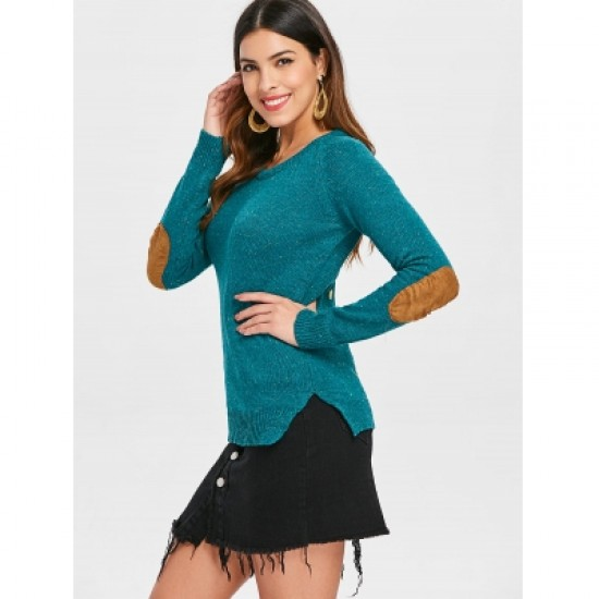 Elbow Spliced Back Buttoned Pullover Sweater