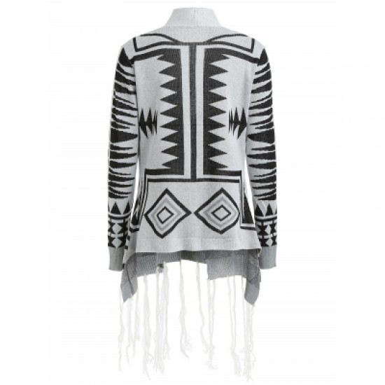Geometric Pattern Tassel Embellished Cardigan
