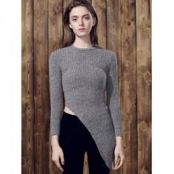 Stand Collar Long Sleeve Irregular Sweater For Women