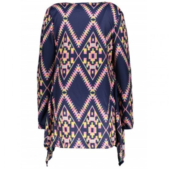 Collarless Long Sleeve Loose-Fitting Ethnic Print Cardigan