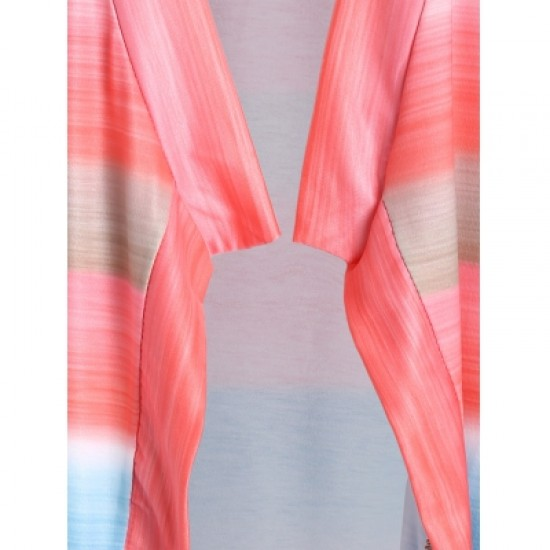 Collarless Long Sleeve Color Block Asymmetrical Cardigan