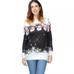 Santa Claus Snowflake Skew Neck Pullover Christmas Sweatshirt