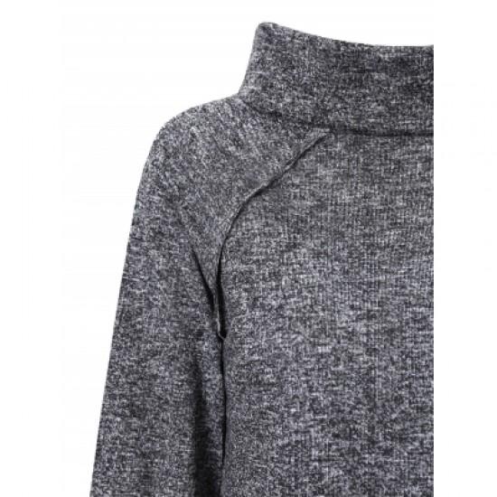 Cowl Neck Long Sleeve Spliced Sweatshirt