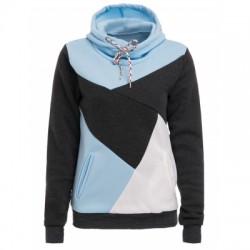 Hooded Long Sleeve Color Block Pocket Design Hoodie