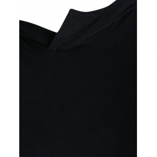Hooded Long Sleeve Color Block Slimming Hoodie