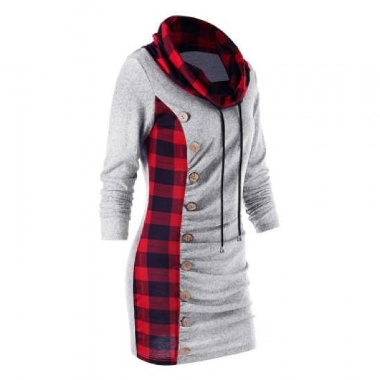 Cowl Neck Plaid Sweatshirt Dress