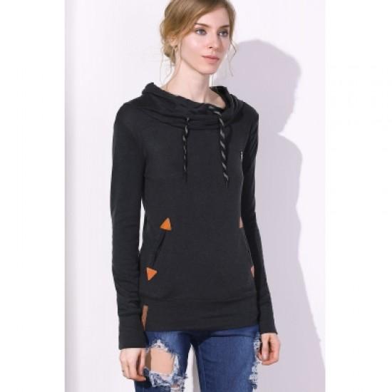Drawstring Pocket Design Embroidered Hoodie