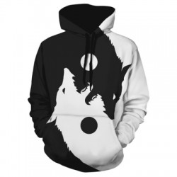 Wolf Print Casual Hoodie