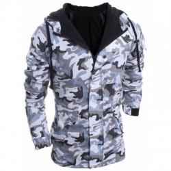 Hooded Long Sleeve Cotton Blend Coat