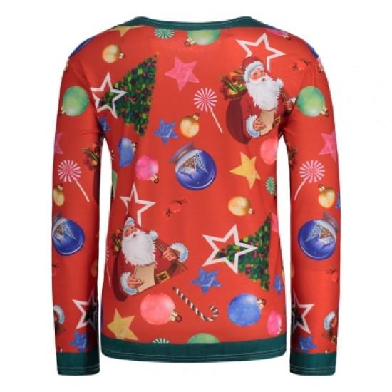Allover Santa Clause Christmas Long Sleeve Tee