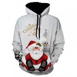 Christmas Snowman Print Pullover Hoodie