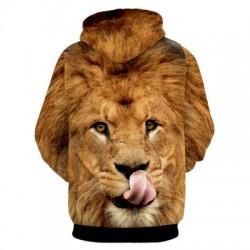 Lion Patterned 3D Animal Print Hoodie