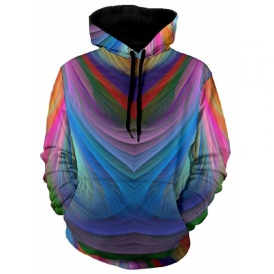 Colorful Irregular Stripe Pullover Hoodie