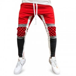 Colorblock Checked Print Track Pants
