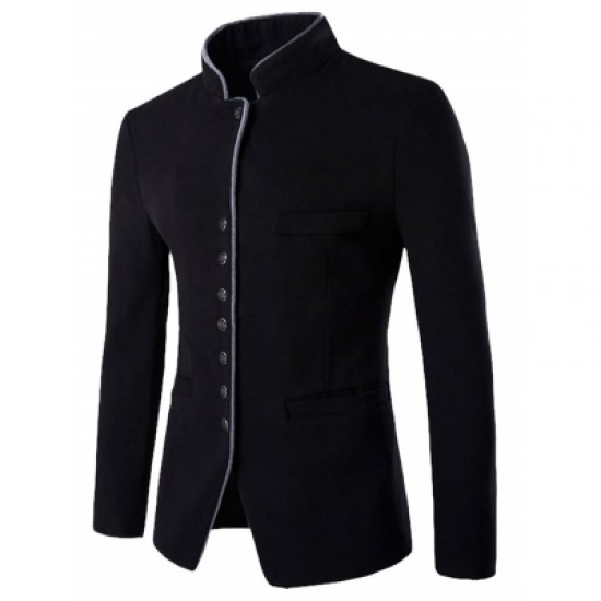 Stand Collar Single-Breasted Blazer
