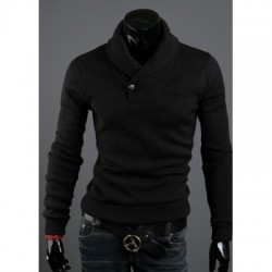 Solid Color Turndown Collar Long Sleeves Cotton Blend Sweater
