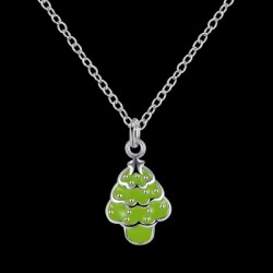 Another Silver Christmas Theme - Fluorescent Green Christmas Tree Necklace