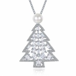 Zircon Christmas Necklace in The Shape of Christmas Tree