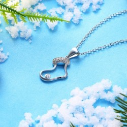 Zircon Christmas Necklace in The Shape of Socks