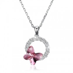 Butterfly Romantic Round Pendant Necklace Pink/Platinum Plated
