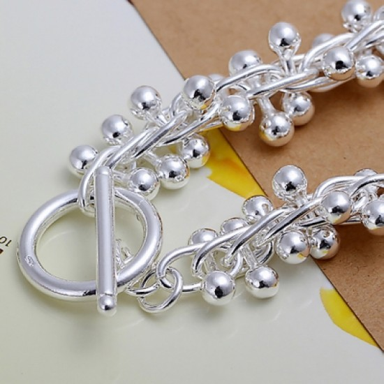 Classic Silver Plated Grape Link Bracelet
