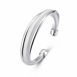 Diagonal Mesh Bracelet Stylish Geometric Silver Bracelet