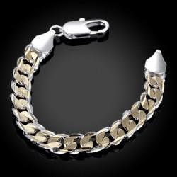 Colored Side Shrimp Clasp Bracelet - Men\'S Geometric Silver Chain Bracelet