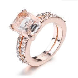 Exquisite 18K Rose Gold Floral Rings New Year Anniversary Proposal Gift Clear
