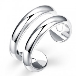 Adjustable Two Lines Silver Plated Ring Charm Jewelry Gift For Women